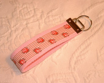Pretty Handmade Wristlet Keychain Key Holder Shabby Chic Pink Roses & Stripes