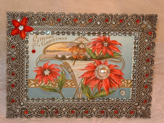 Vintage Jewelry Embellished Framed Early 1900 Christmas Postcard Red Poinsettias
