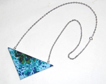 Geometric Arrow Blue & Green Floral Splatter Upcycled Vintage Fabric Necklace