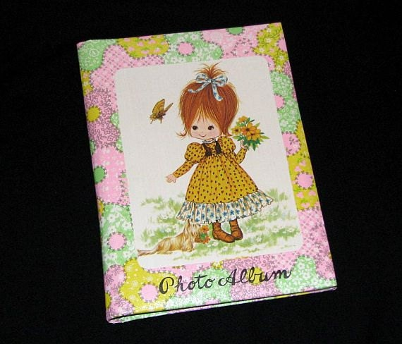 Vintage 70s Children's Multicolor Little Redhead Girl in Yellow Dress w/ Dog Mini Photo Album