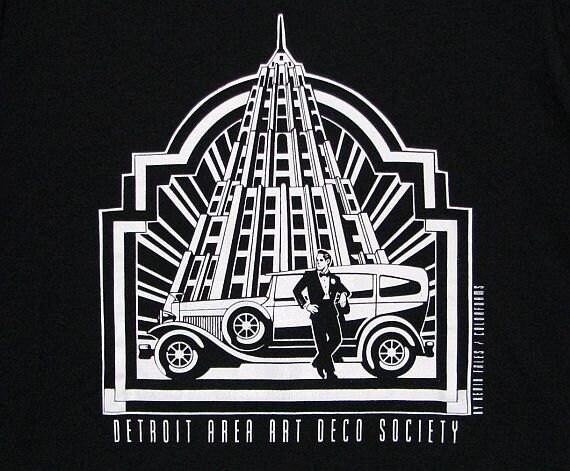 Vintage 80s 90s Black & White Detroit Area Art Deco Society Souvenir T Shirt Mens L