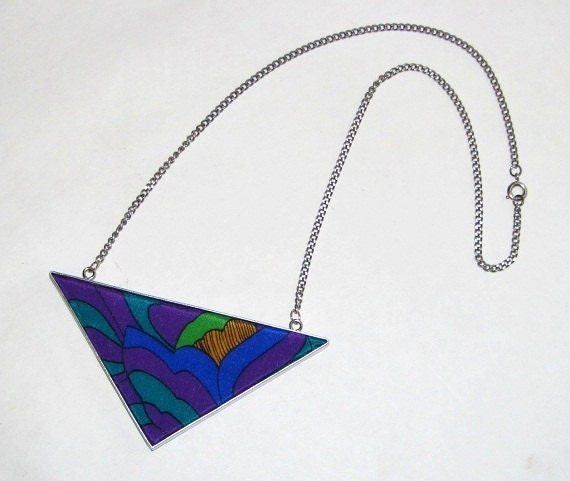 Geometric Arrow Purple & Blue Flower Upcycled Vintage Scarf Necklace