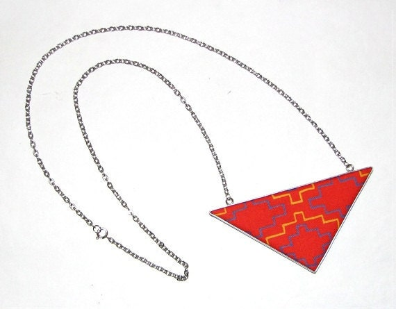Geometric Arrow Red Southwest Upcycled Vintage Fabric Necklace