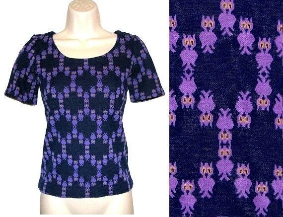 Vintage 60s 70s Handmade Navy & Purple Owl Print Short-Sleeve Shirt S/XS