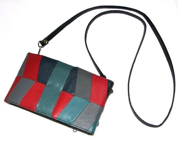 Vintage 80s 90s Multicolor Chevron Patchwork Leather Convertible Wallet Clutch Bag