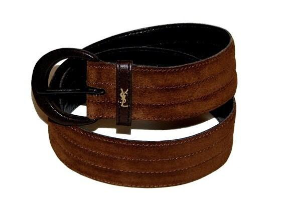 Vintage 80s Dark Brown Suede Faux YSL Yves Saint Laurent High-Waist Belt S