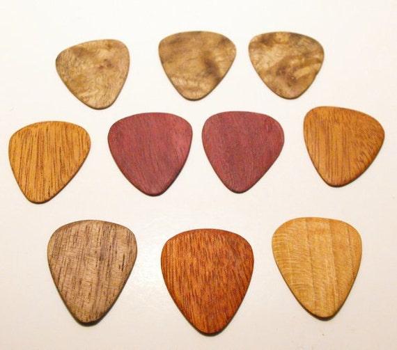 Wood Guitar Pick Gift Set. 10 piece set.