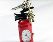 Red Fire Extinguisher Pocket Watch Keychain,With a mini Robot