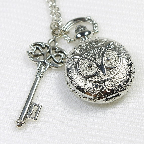 sterling silver owl working pocket watch necklace with a loveing key