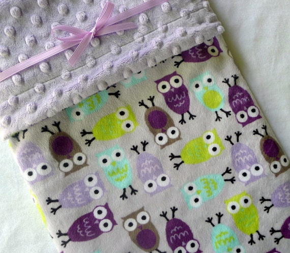 Baby Blanket - Owl Baby Blanket - Purple, Lavender, Lilac, Aqua, Lime Green Night Owl Minky Baby Blanket With Dot Minky