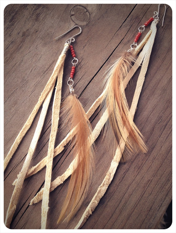 RESERVED for WINNIE enchanted rock.  tribal feather & leather earrings. 'made to order'
