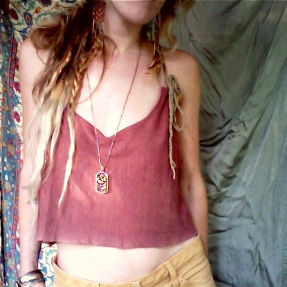mama gaia crop top. organic bamboo hemp blend. hand dyed color- desert rose. 'made to order'