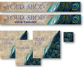 Premade Beautiful Vintage Stone Effect Peacock Etsy Shop Set Banners and Avatars
