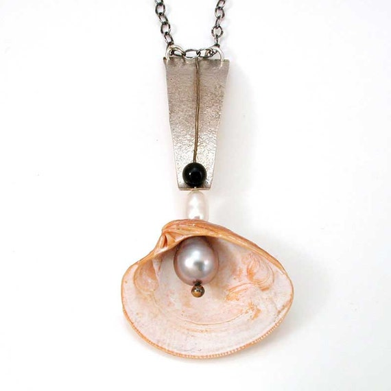 Organic Shell Pendant - Natural Shell Pendant - Beach Jewelry - Rustic Clam Shell Pendant  - Silver Gray Pearl Necklace - Mermaid Jewelry