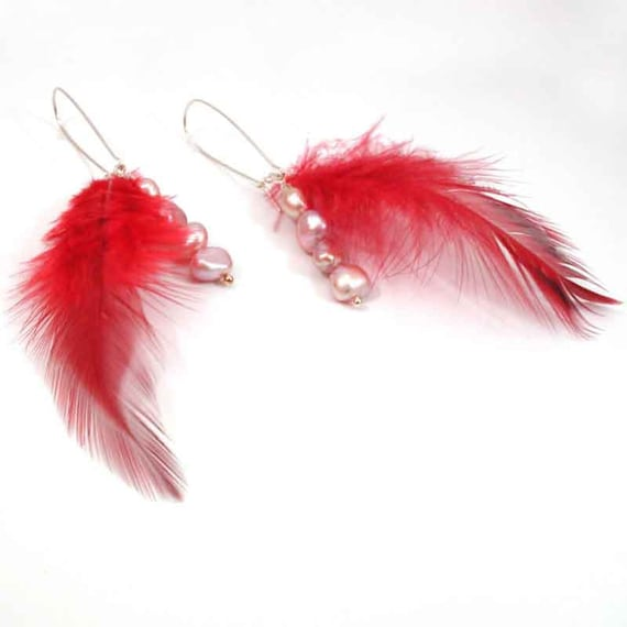 Red Feather Earrings with Pearls- Handmade