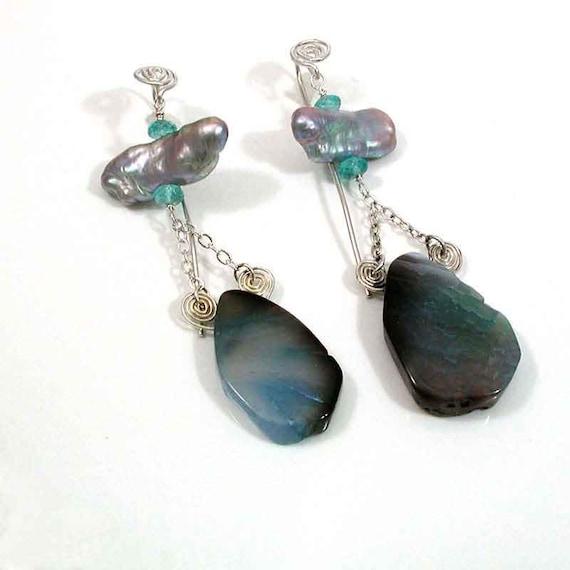 Boho Pearl Dangle - Organic Blue Agate Earring - Stone Statement Earring - Long Organic Earring - Gray Pearl Shoulder Duster - Retro Dangle