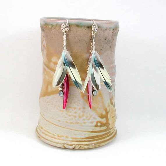 Feather Earrings - Shell Earring - Wire Wrapped Feather Earrings - Hot Pink Spike Dangle - Feather Shoulder Duster - Organic Earrings