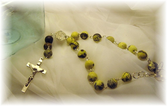 Yellow Turquoise Rosary Auto Charm, St Christopher