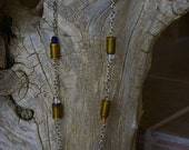 "32 Caliber Spent Bullet Shell and Glass Bead Bullet  22"" Red Neck Necklace"