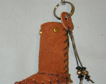 Lip Balm Case Orange Brown Leather Moccasin Keychain Boot