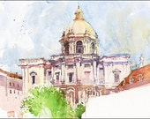 Art Print on Watercolor Paper - From my own Original Watercolor Painted in Lisbon - Marc Taro Holmes - Santa Engrácia - 8x10""