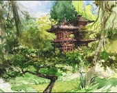 Art Print on Watercolor Paper - From my own Original Watercolor Painted in San Francisco - Marc Taro Holmes - Japanese Garden - 8x10""