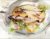 "Art Print on Watercolor Paper - Food Art - Grilled Sardines - Marc Taro Holmes - Urban Sketching - 8x10"""