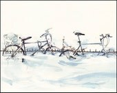 Art Print on Watercolor Paper - Montreal - Urban Sketching - Marc Taro Holmes - Wintering Bikes - 8x10""