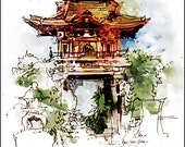 Fine Art Print Watercolor over Pen and Ink Sketchbook Drawing - Golden Gate Park - San Francisco - Japanese Gate - 8x10""