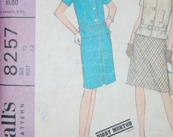 McCalls Vintage Sewing Pattern - 8257 Digby Morton, Size 12, Bust 32, Waist 25, Hip 34