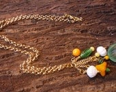 Sweet and Happy Green, Orange, White and Yellow Multicolored Vintage Bead Necklace on Gold Rolo Chain