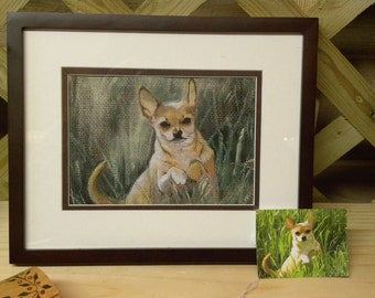 "Custom Handpainted Animal Portraits-Pet Memorial-Matted 8"" X 10""-Dogs-Cats-Horse-Made to Order from photo"
