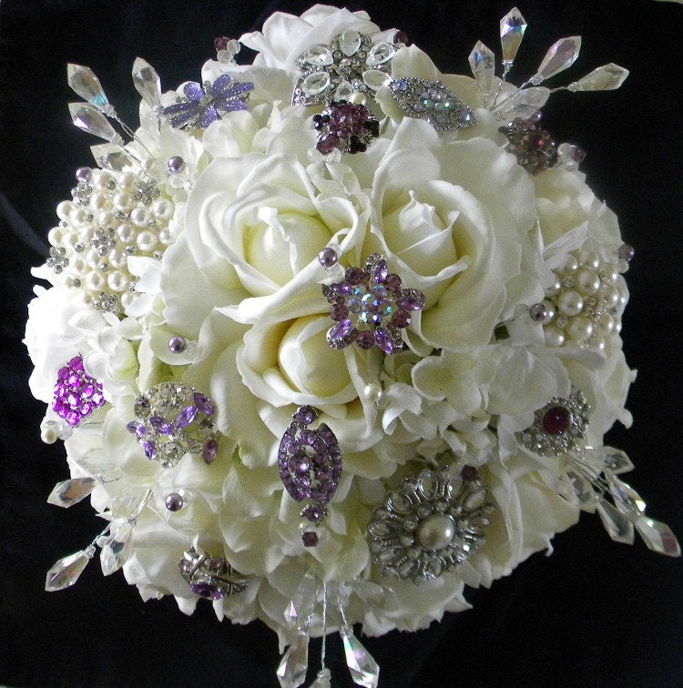 Real Touch Rose Bridal Bouquet In Soft White With Lavender