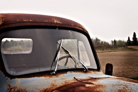 Rusty Truck Photography International Classic Roadster  - Vintage Original Fine Art 8x10 - Windshield Cracked Lomo Print Old Photograph