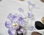Wedding Hair Piece Lavender Crystal Hairpin