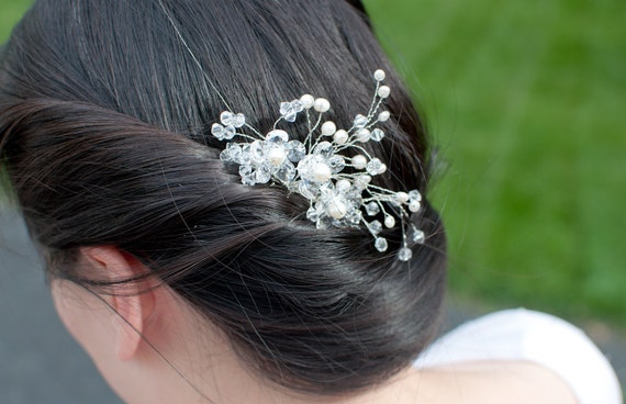 Ivory Pearls and Crystals Bridal Hair Comb