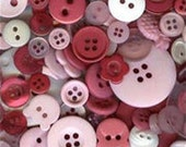 100 Mixed Buttons, Red, Pink, White, Dark Pink, and Beige