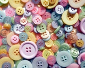 "100 Mixed Pastel Buttons - bulk buttons for sewing and crafts, multi sizes 1/8"" up to 1-1/2"""