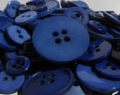 25 Mixed Dark Blue Buttons - Dark Blue, Navy Blue