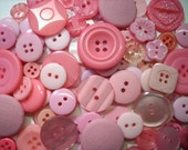 "200 Small Assorted Pink Buttons, small sizes 1/8"" up to 5/8"", lots of variety"