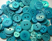 "200 Mixed Turquoise, Caribbean Blue & Deep Aqua Buttons, multi sizes 1/4"" up to 1-1/2"", bulk sewing buttons"