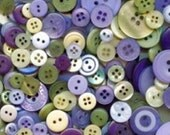 """100 Mixed Morning Glory Sewing Buttons - Purple, Plum, Light Purple, Olive Green, Spring Green, Cream, Beige, Multi Sizes 1/8"""" up to 1-1/2"""""""