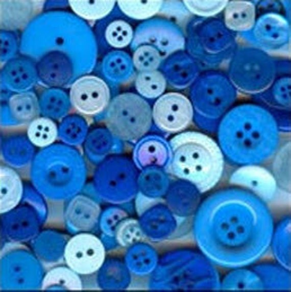 100 Mixed Buttons, Blue Moon mix - Royal Blue, Dark Blue, Sky Blue, Powder Blue, Navy Blue, Bright Blue