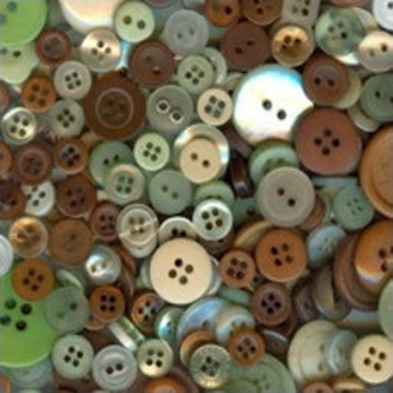 25 Earthy Mixed Buttons, Dark Brown, Tan, Beige, Olive Green