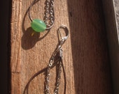 Leather Earrings: Jade Green Glass with Chain
