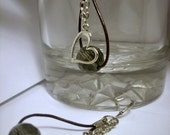 Leather Earrings: Silver Heart Charm Silver Chain and Smoky Grey Crystal