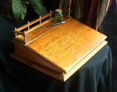 vintage hinged wood lap desk for letter writing and stationery storage with decorative railing