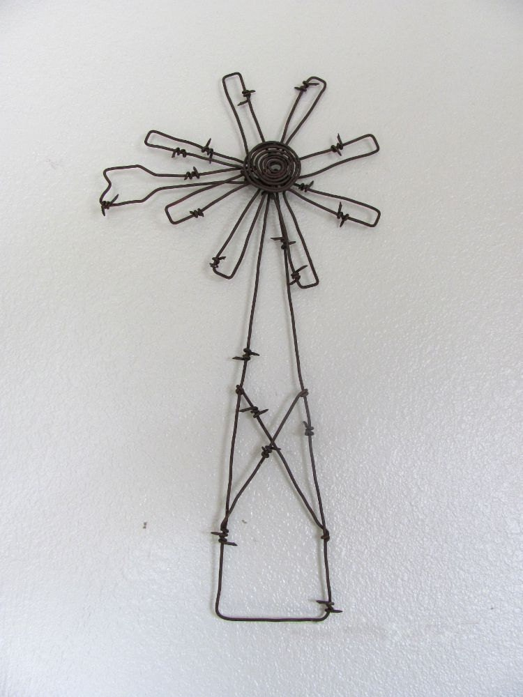 Handmade barbed wire windmill wall hanging ook