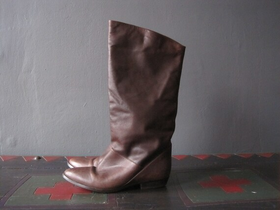 antiqued leather boots