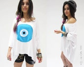 Evil Eye  T shirt  side tail white  Z HOVAK Top